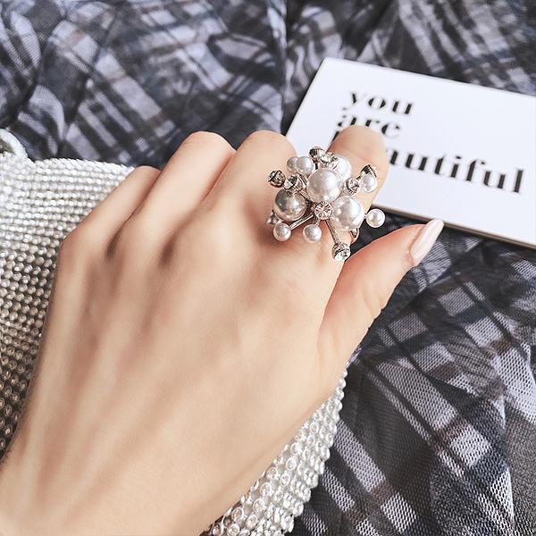 戒指 滿天星煙花網紅同款珍珠食指戒指女歐美誇張大個性時尚可微調指環 店慶降價
