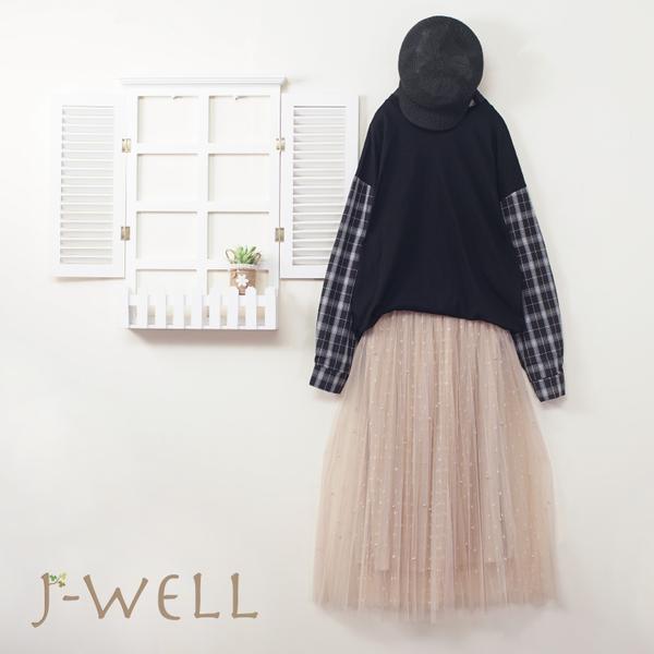 J-WELL 格紋兩件式上衣網紗裙二件組(組合B006 9J1026黑+9J1038米)