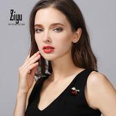 店長推薦 紫遇胸花日韓國配飾可愛時尚飾品氣質甜美簡約外套櫻桃胸針女別針