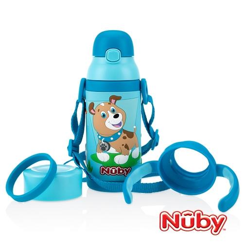Nuby3D超輕量不鏽鋼真空學習杯-憨憨犬 385ml