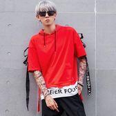 中大尺碼 嘻哈短袖男2018夏短袖飄帶寬鬆短袖連帽衛衣t恤 zm1359『男人範』