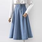 淺藍色牛仔半身裙女2021春季新款松緊腰大擺裙百搭顯瘦中長款傘裙「時尚彩紅屋」