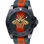 GUCCI 古馳 Dive 蜜蜂200米潛水錶-紅綠/45mm YA136216