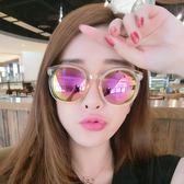 太陽眼鏡墨鏡女士潮韓國款眼鏡新款圓形個性太陽眼鏡復古圓臉 小明同學