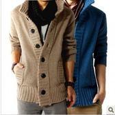 韓系남성加厚羊絨針織 休閒純色毛衣外套  預購10天+現貨