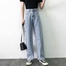 夏季薄款泫雅高腰牛仔褲女 寬鬆垂感寬褲 顯瘦墜感直筒拖地長褲子
