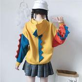 日系女裝衛衣女秋冬可愛學生恐龍小清新加絨寬松拼色外套上衣連帽「輕時光」