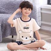 男童睡衣夏季薄款短袖純棉兒童睡衣男孩夏天中大童小孩家居服套裝   任選一件享八折