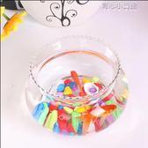 迷你小型桌面花邊缸辦公室金魚缸水培綠蘿超白玻璃圓形花邊造景缸YYJ 育心小賣館