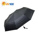 UV100 防曬 抗UV-晴雨大傘面自動傘-簡約格紋