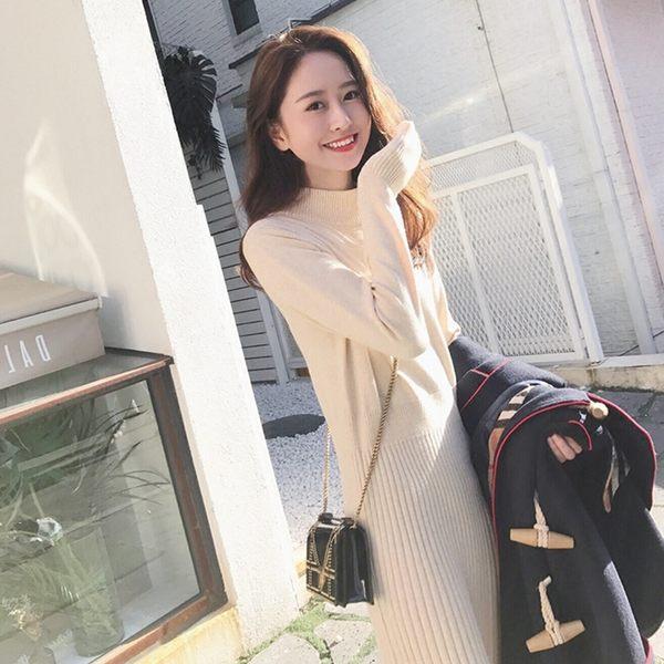 【$288低價出清 不退不換】大韓訂製長洋裝日系韓中長版針織衫長袖連身裙修身長裙