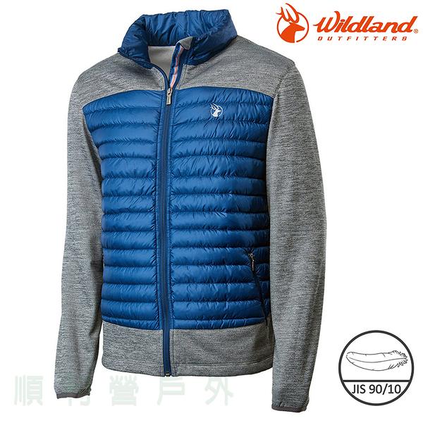 荒野WILDLAND 男款彈性針織拼接羽絨外套 0A62992 深藍色 保暖外套 羽絨衣 輕羽絨 OUTDOOR NICE