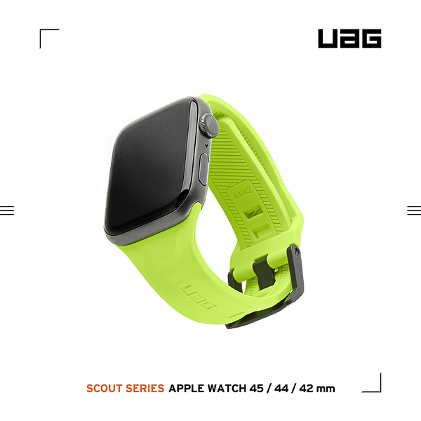 UAG Apple Watch 42/44/45mm 潮流矽膠錶帶-霓虹綠