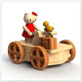 ♥小花花日本精品♥ Hello Kitty 限量款獨特KT公仔木製手推車造型音樂盒許願