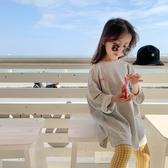女孩灰色圓領長袖衛衣 前短後長上衣 五分袖上衣 上衣 女童 橘魔法 現貨 童裝