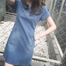 牛仔洋裝 夏季女裝韓版新款寬鬆大碼包臀A字短裙氣質短袖牛仔連身裙潮 韓菲兒