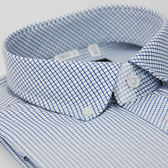 【金‧安德森】藍色格紋釘釦窄版長袖襯衫