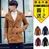 Free Shop 韓版紳士英倫風時尚品味質感翻領圓扣中長版立領毛呢雙排釦大衣外套 有大尺碼【QTJA92】