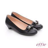 effie 都會舒適 羊皮立體蝴蝶結飾低跟鞋  黑