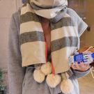 【加厚】仿兔毛球加大仿羊絨圍脖/披肩 2色【Q1424148】