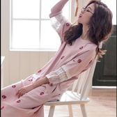八八折促銷-夏季睡衣女夏季棉質短袖大尺碼中長版正韓草莓睡裙夏天可外穿家居服