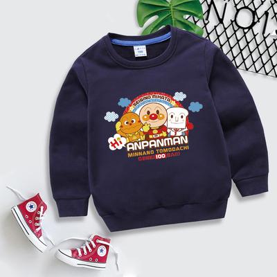 男童男Baby長袖T恤藍色可愛麵包超人印花純棉T恤秋季休閒T恤  現貨