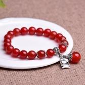 天然水晶紅瑪瑙女手珠串珠女學生手串本命年轉運珠子紅色生肖手鍊萊俐亞美麗