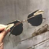 網紅款太陽鏡復古金屬女潮側翅膀墨鏡男ins超火的眼鏡 雙十一全館免運