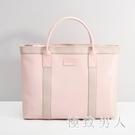 韓版托特包手提包文件袋A4拉鏈袋公文包男女士商務公事包會議袋筆電包 LJ4936【極致男人】