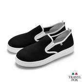 TRAVEL FOX(女) 網布舒適休閒懶人鞋-黑