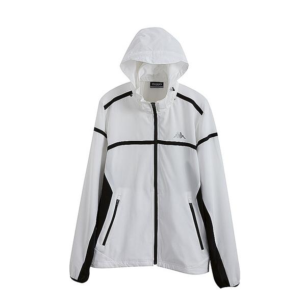 KAPPA義大利時尚平織四面彈慢跑風衣外套(合身版可拆帽) 白 黑