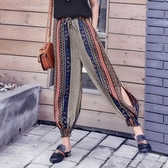 沙灘雪紡褲紗休閒寬鬆燈籠褲女夏季 薄款顯瘦哈倫九分褲子‧時尚