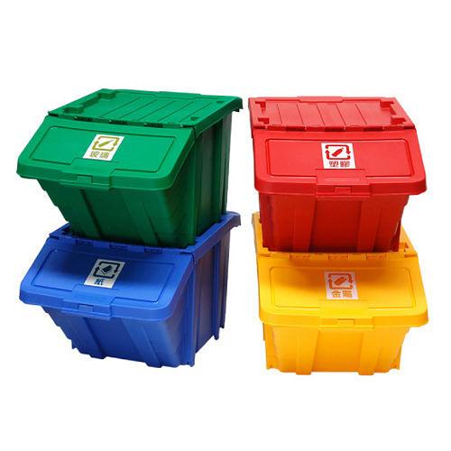 【nicegoods】 家用可疊式資源回收箱(4色/組)(掀蓋 塑膠 整理箱)