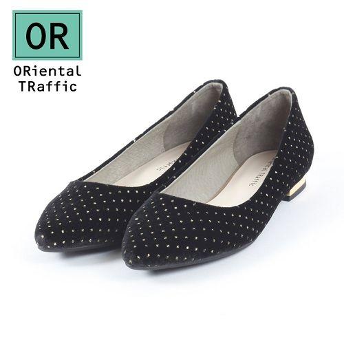 【ORiental TRaffic】俏皮點點絲絨平底鞋-經典黑
