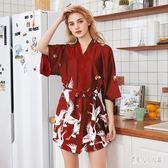 睡衣女夏季冰絲性感薄款絲綢浴袍伴娘新娘晨袍 JH1297『俏美人大尺碼』