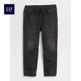 Gap男嬰幼童 舒適鬆緊腰機車束口牛仔褲 496087-黑色水洗