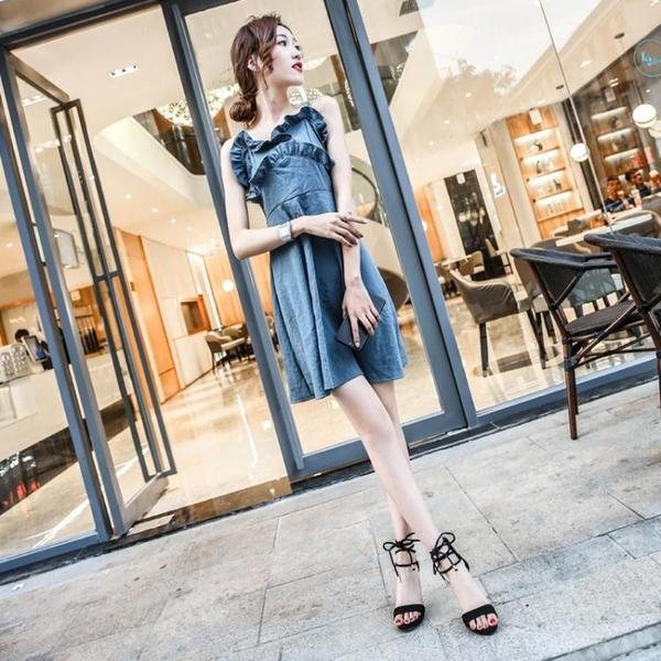 高跟鞋2020夏超高跟涼鞋女細跟小清新粉色黑色交叉綁帶繫露趾潮鞋子春季新品