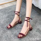 涼鞋女鞋高跟鞋粗跟綁帶夏季新款韓版時尚一字露趾方頭羅馬鞋 QQ29651『MG大尺碼』
