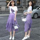 印花T恤網紗半身長裙兩件套裝...