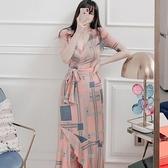 依二衣 洋裝 夏裝新款韓版名媛氣質V領系帶修身印花魚尾長裙連身裙
