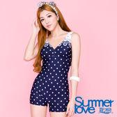 【夏之戀SUMMERLOVE】氣質小花連身四角泳衣-加大碼(E12794)