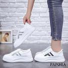 大方厚底休閒板鞋小白帆布鞋(偏小)KK02彩色/銀色PAPORA