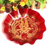 結婚喜慶大紅色水果喜盤果盤糕點喜盤