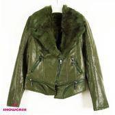 【SHOWCASE】時尚翻領內刷毛軍裝風PU皮外套(深綠色)