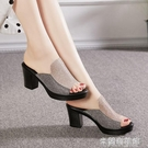 高跟拖鞋 涼拖鞋女夏季新款粗跟高跟2021百搭時尚防滑中跟一字拖鞋女涼鞋女 618大促銷