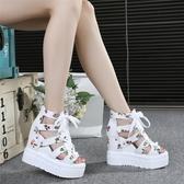 楔形鞋夏季百搭內增高涼鞋厚底坡跟高跟鞋碎花魚嘴女鞋34碼綁帶聖誕交換禮物
