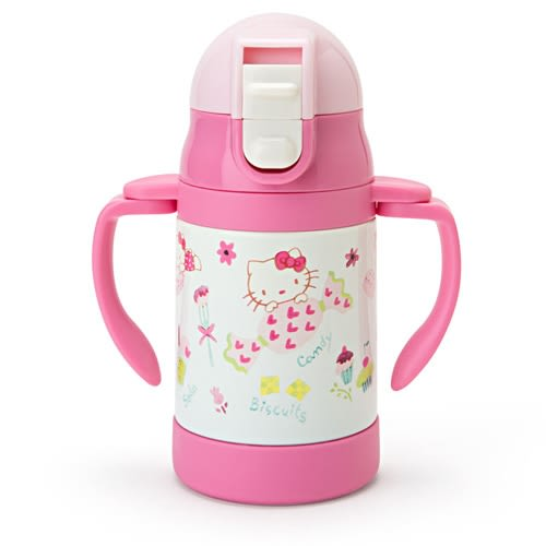 Sanrio HELLO KITTY嬰童用不鏽鋼雙耳吸管壺/學習杯(甜點)★funbox★_824399