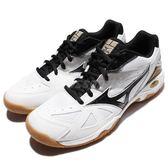 【六折特賣】Mizuno 排羽球鞋 Wave Gate 4 白 黑 生膠底 基本款 女鞋【PUMP306】 71GA1640-11