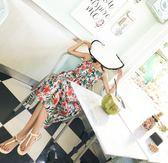 $399出清專區 韓國民族風海邊度假露背雪紡印花無袖洋裝
