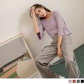 《AB13558》純色壓紋荷葉拼接五分袖/短袖上衣 OrangeBear